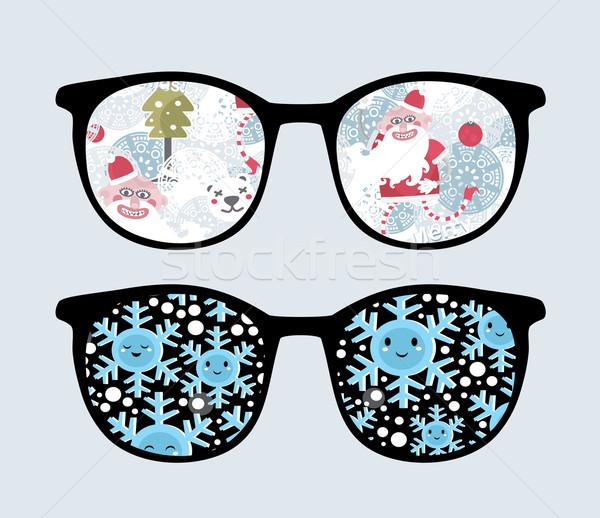Retro sunglasses with winter reflection in it. Stock photo © ekapanova
