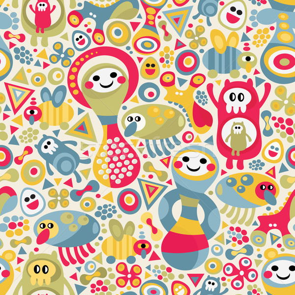Stock photo: Cute monsters seamless texture.
