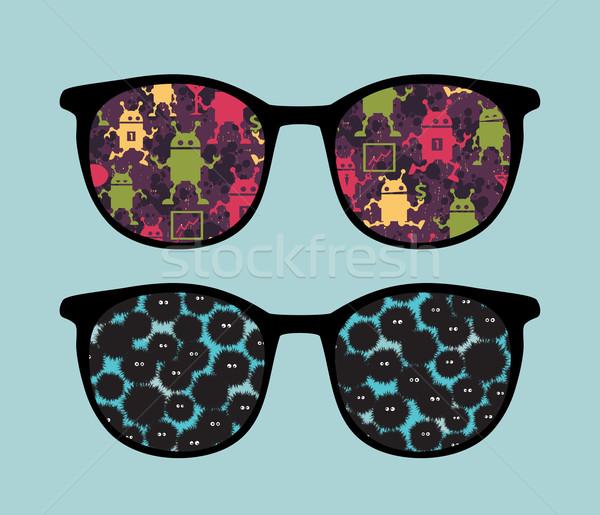 Retro napszemüveg furcsa teremtmények tükröződés izolált Stock fotó © ekapanova
