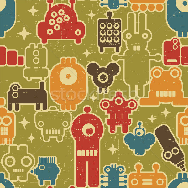 Robot and monsters modern seamless pattern on green. Stock photo © ekapanova