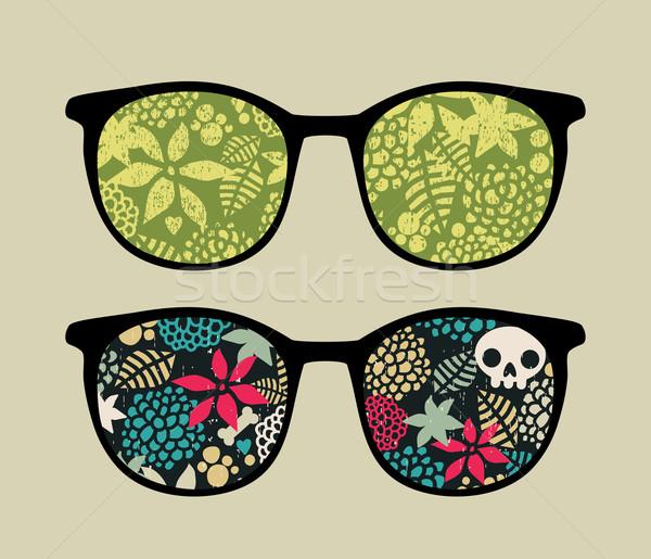 ретро очки цветочный отражение цветок весны Сток-фото © ekapanova