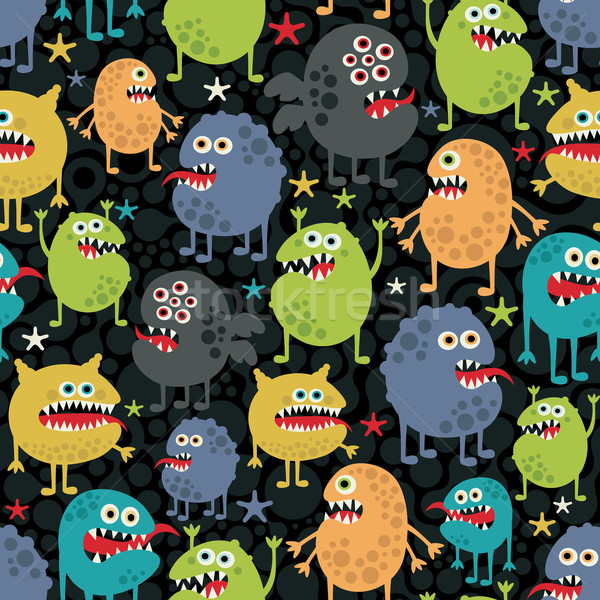 Stock photo: Cute monsters seamless texture with stars.