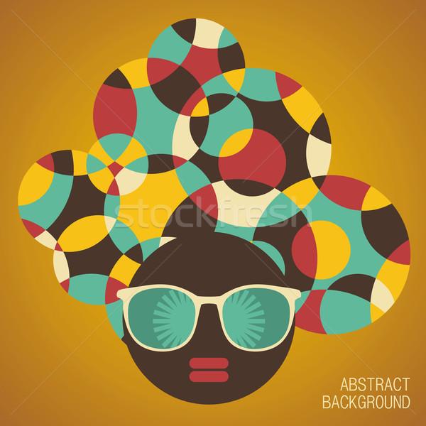 Negro cabeza mujer extrano pelo patrón Foto stock © ekapanova