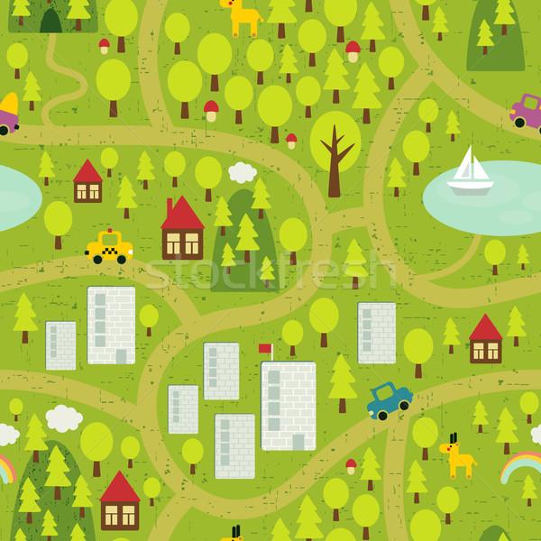 Cartoon map  of small town and countryside. Stock photo © ekapanova