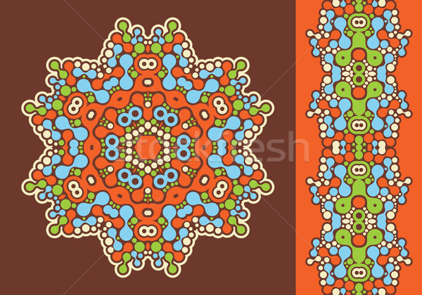 Decoration ring and psychedelic seamless pattern. Stock photo © ekapanova