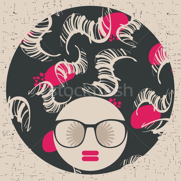 Stock photo: Black head woman with strange pattern hair.
