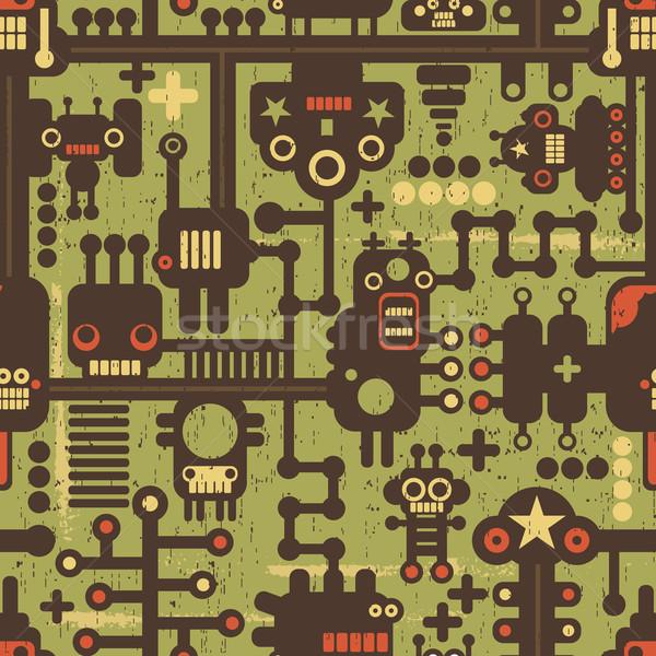 Stok fotoğraf: Robot · canavarlar · yeşil · vektör · serin