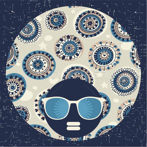 黒 頭 女性 奇妙な パターン 髪 ストックフォト © ekapanova