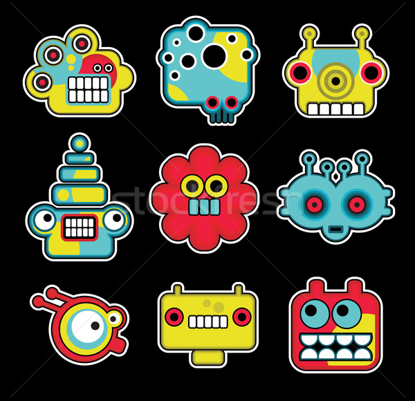Cartoon robots and monsters faces in color #2. Stock photo © ekapanova