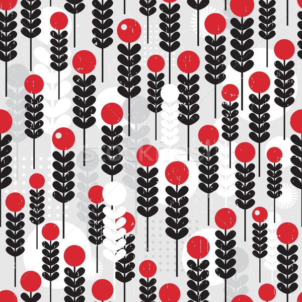 Absztrakt végtelen minta bogyók vektor textúra fű Stock fotó © ekapanova