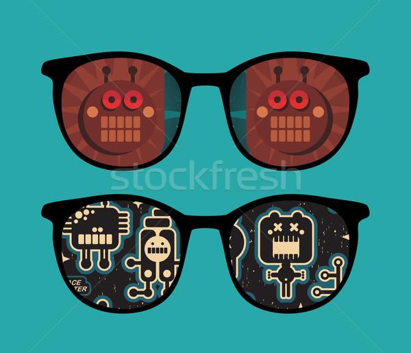 Retro napszemüveg robotok tükröződés izolált szemüveg Stock fotó © ekapanova