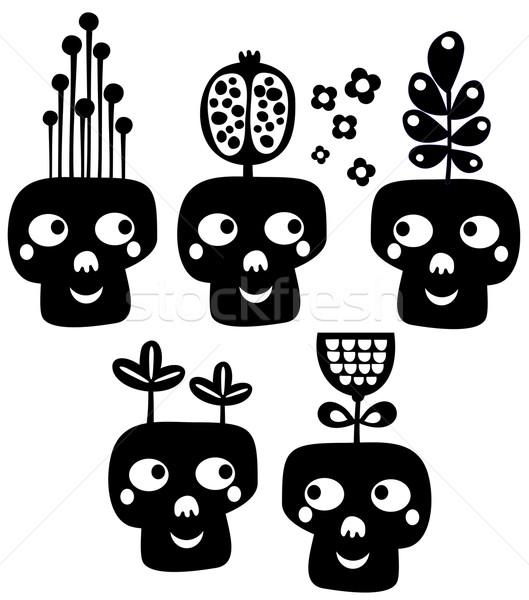 面白い 頭蓋骨 花 ファッション 死 楽しい ストックフォト © ekapanova