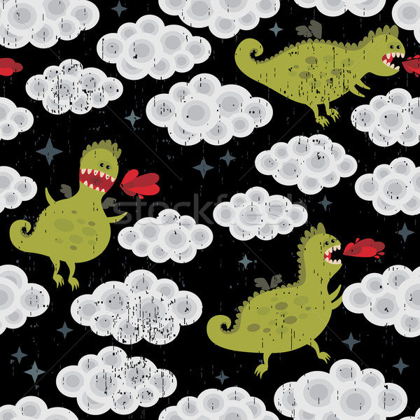 Dragon in the clouds seamless background.  Stock photo © ekapanova