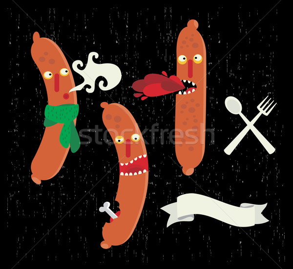 Cute sausages food monsters.  Stock photo © ekapanova