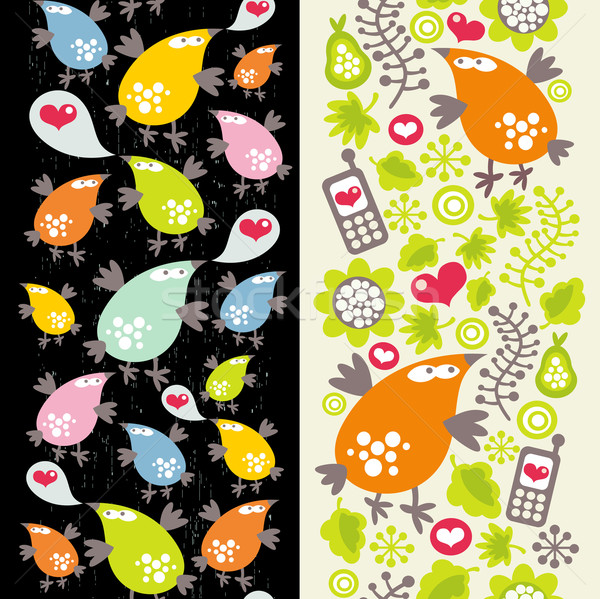 Seamless patterns with birds and mobile phones.  Stock photo © ekapanova