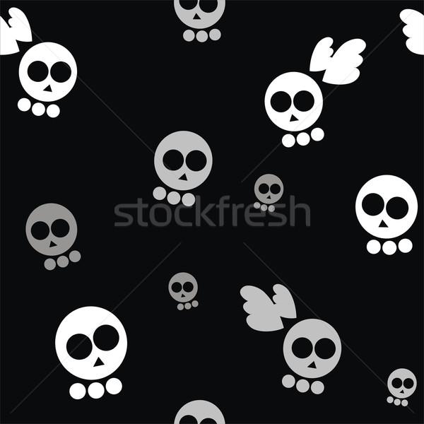 Stock fotó: Végtelen · minta · koponyák · szárnyak · fekete · háttér · szabadság