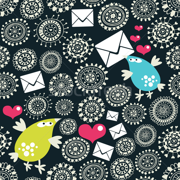 Seamless pattern with envelopes, birds and hearts. Stock photo © ekapanova