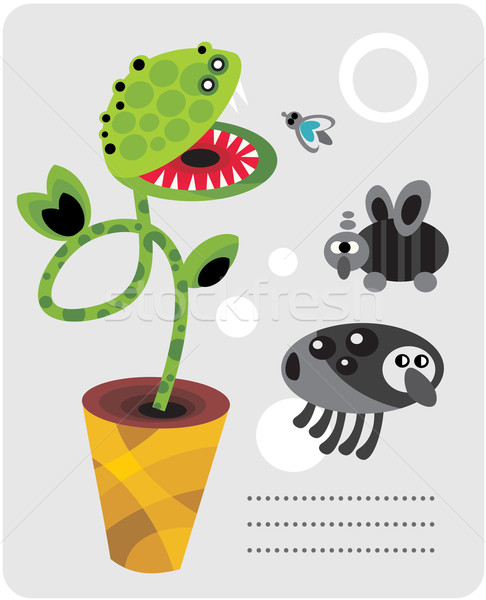 Cute plant monsters and insects. Stock photo © ekapanova