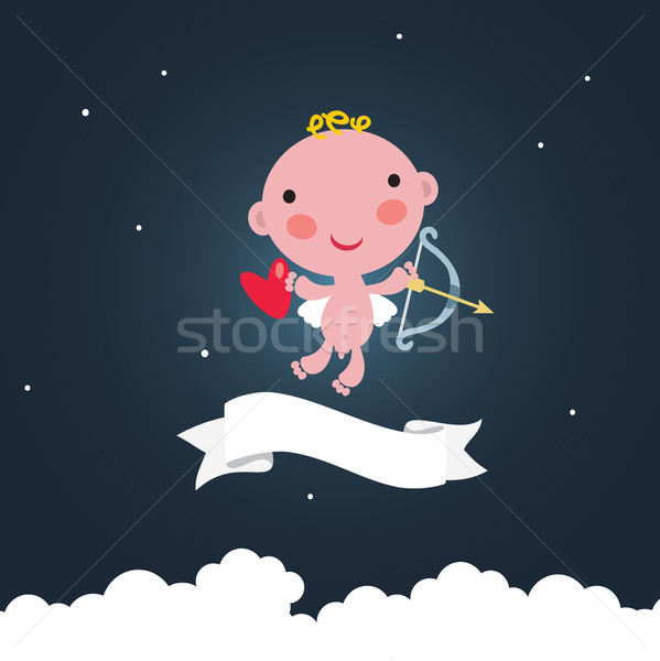 Cute cupid in the dark sky.  Stock photo © ekapanova