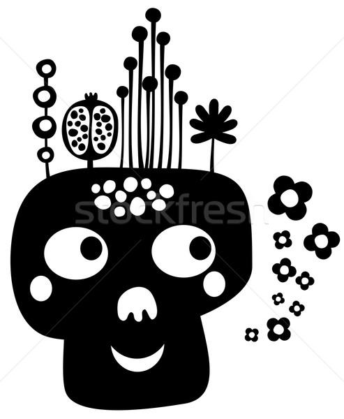 Funny skull with flowers. Stock photo © ekapanova