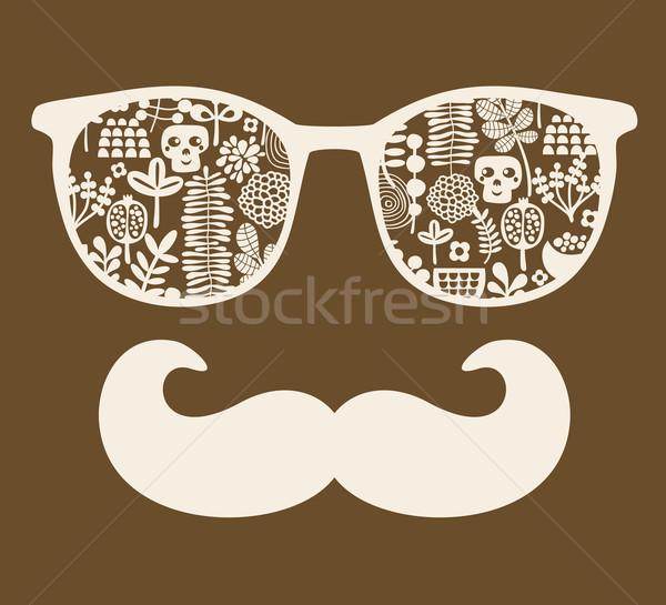 Retro sunglasses with reflection for hipster. Stock photo © ekapanova