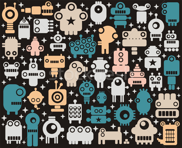 Space robots and monsters colorful background.  Stock photo © ekapanova