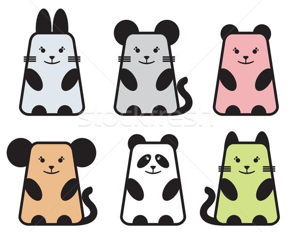 милые животные набор шесть kawaii стиль детей Сток-фото © ekapanova
