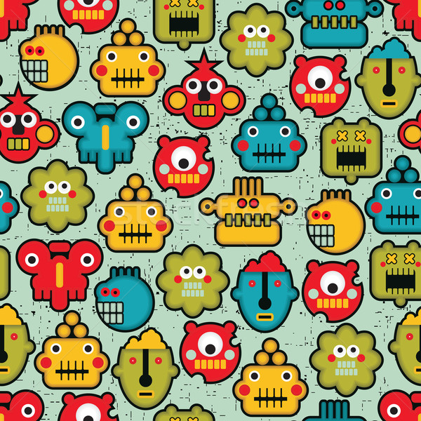 Robot and monsters cute faces seamless pattern. Stock photo © ekapanova