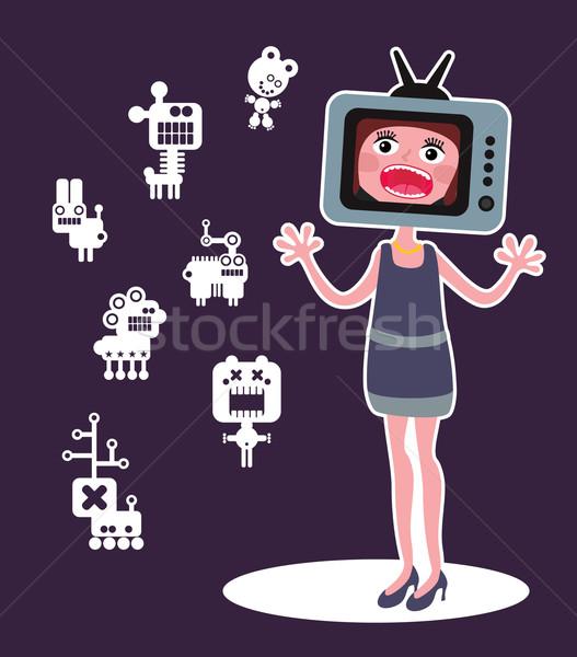 Cute monsters and shouting girl with TV head.  Stock photo © ekapanova