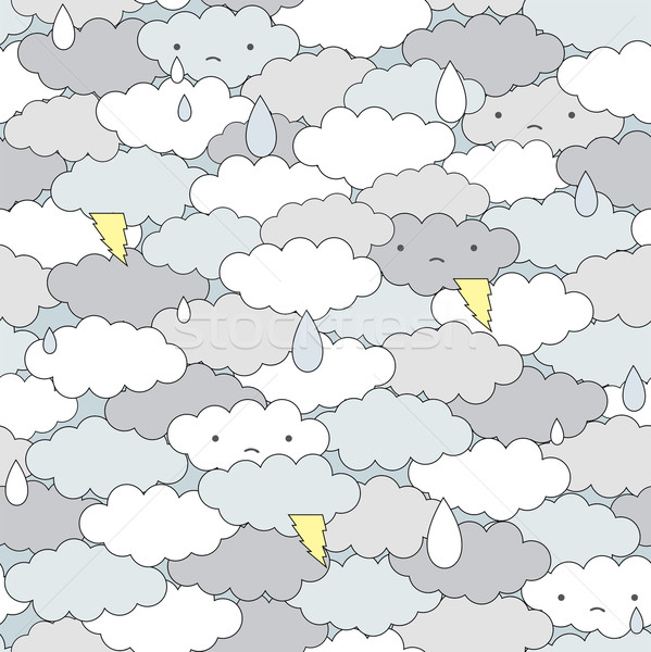 Stock photo: Seamless clouds and rain pattern.