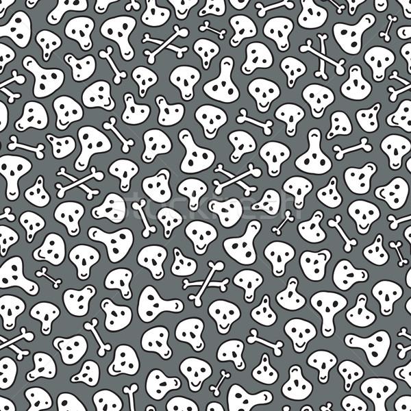 Koponyák csontok végtelen minta vektor firka illusztráció Stock fotó © ekapanova