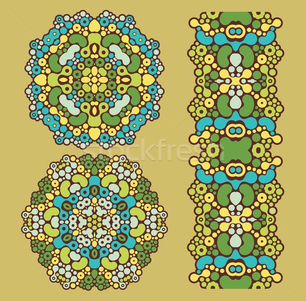 Decoratie cirkels psychedelic groene vector Stockfoto © ekapanova