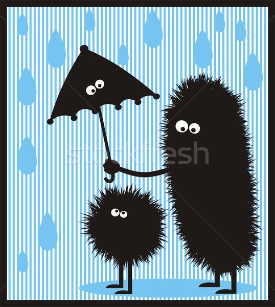 Kócos szörny anya lánygyermek szörnyek esernyő Stock fotó © ekapanova
