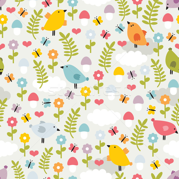 Cute seamless pattern with birds,flowers and mushrooms. Stock photo © ekapanova