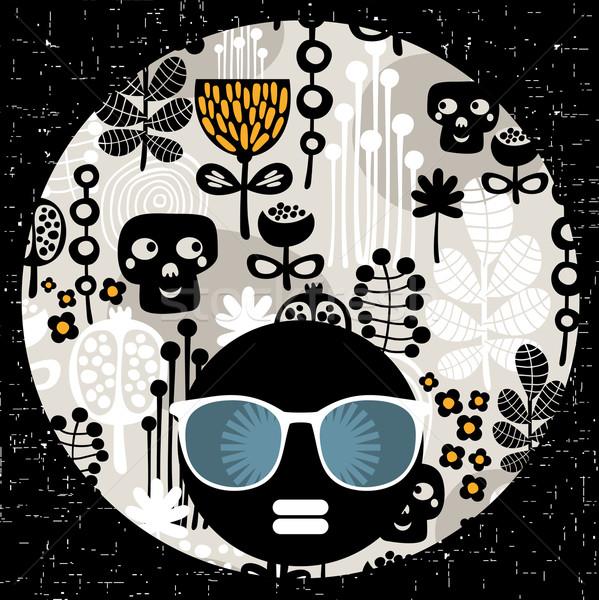Stockfoto: Zwarte · hoofd · vrouw · vreemd · haren · patroon