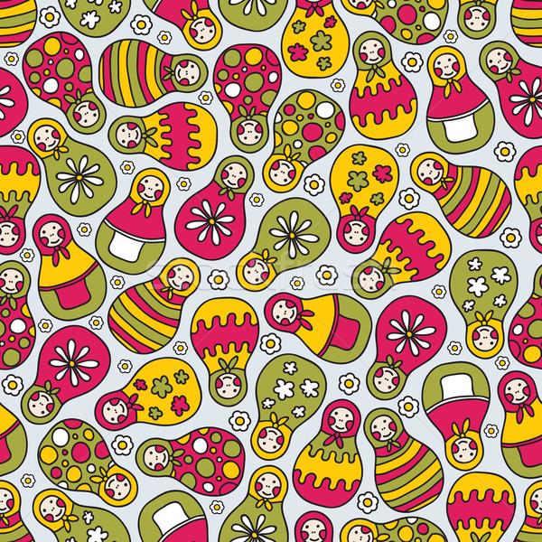 Matreshka doll seamless pattern. Stock photo © ekapanova