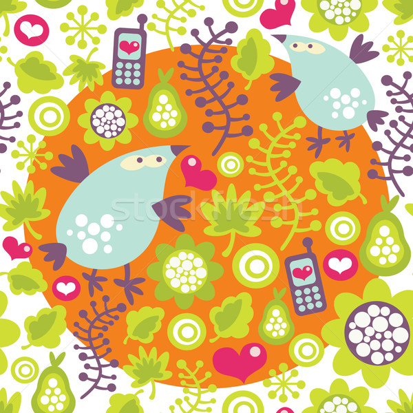 Seamless pattern with birds and mobile phones.  Stock photo © ekapanova