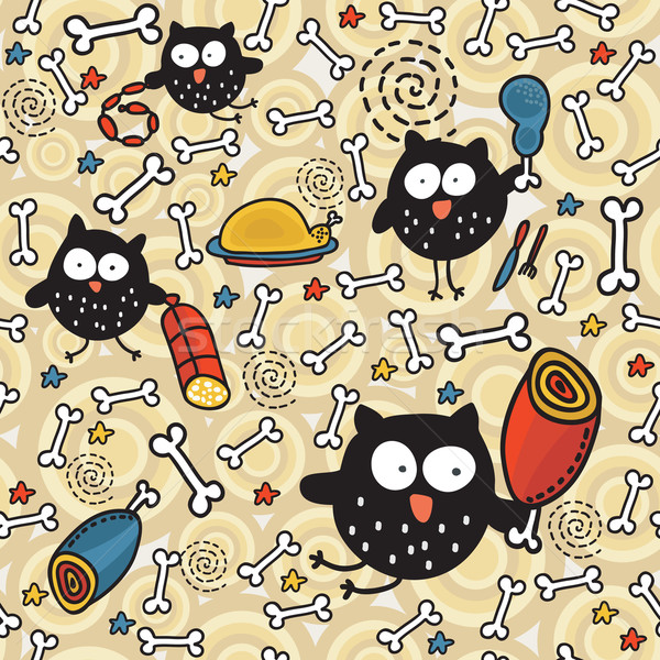 Seamless pattern with meat and owl.  Stock photo © ekapanova