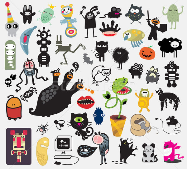 Stock photo: Big set of different cute monsters.