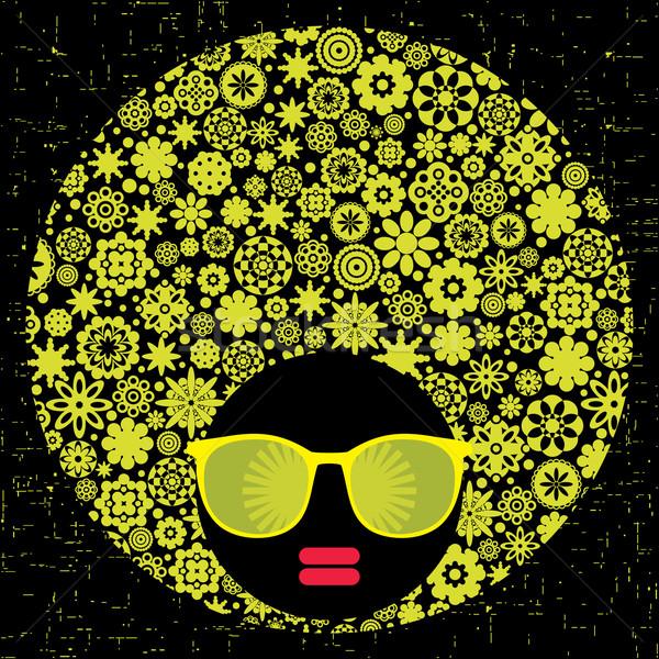 Preto cabeça mulher estranho padrão cabelo Foto stock © ekapanova