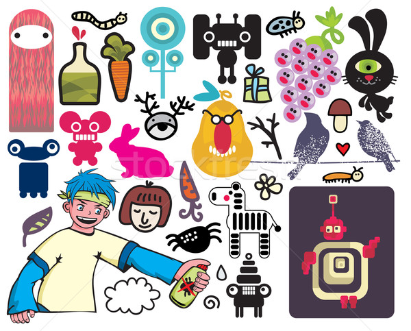 Stock photo: Mix of different vector images and icons. vol.20