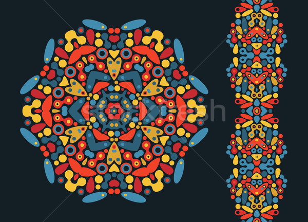 Decorative round element and psychedelic seamless pattern. Stock photo © ekapanova