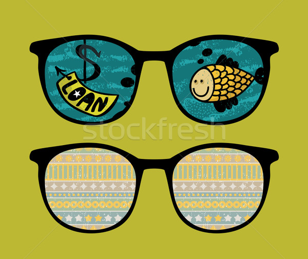 Stock photo: Retro sunglasses with fish reflection in it.