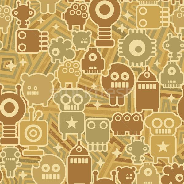 Retro naadloos robots vector textuur kunst Stockfoto © ekapanova