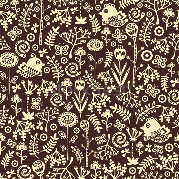 Stock photo: Seamless pattern with decorative birds, hearts and flowers.