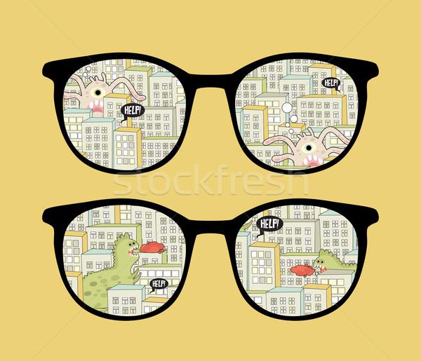 Retro óculos de sol monstros reflexão cidade isolado Foto stock © ekapanova