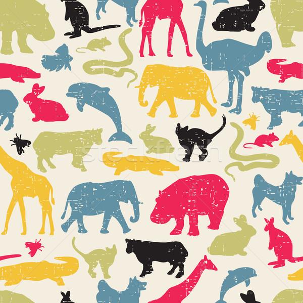 Animals silhouette seamless pattern. Stock photo © ekapanova