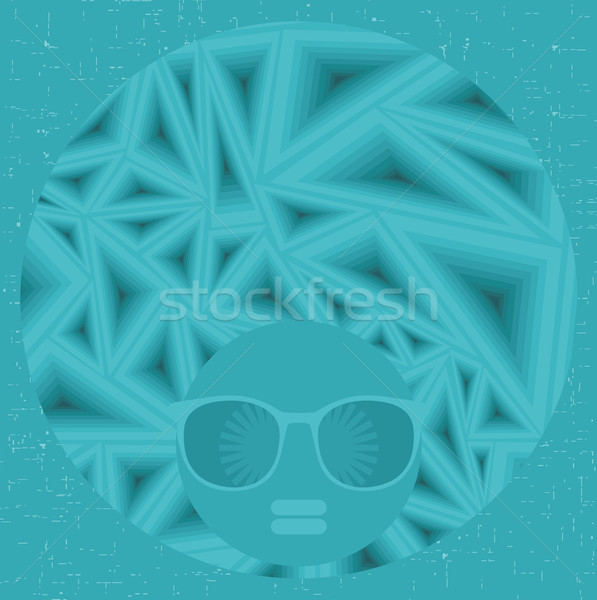 Black head woman with strange pattern hair. Stock photo © ekapanova