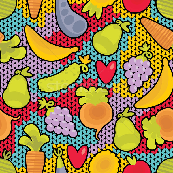 Seamless pattern with fruits and vegetables and hearts.  Stock photo © ekapanova