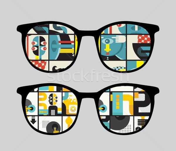 Retro güneş gözlüğü garip yansıma gözlük yalıtılmış Stok fotoğraf © ekapanova